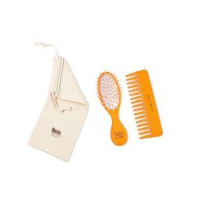 Twin set (brush, comb, cotton bag) - orange color
