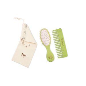 Twin set (brush, comb, cotton bag) - lime color