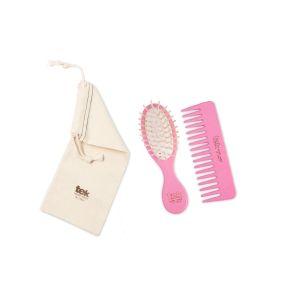 Twin set (brush, comb, cotton bag) - pink color