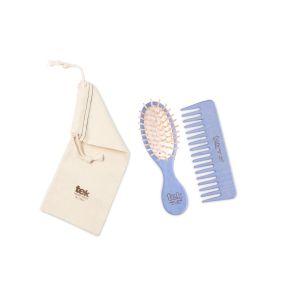 Twin set (brush, comb, cotton bag) - light blue color