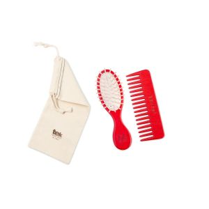 Twin set (brush, comb, cotton bag) - red color