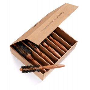 Box Kit 5 Roll brushes in mahogany wood with reinforced boar bristles